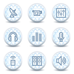 Media web icons , glossy circle buttons