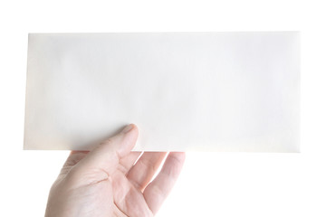 Hand holding a blank envelope