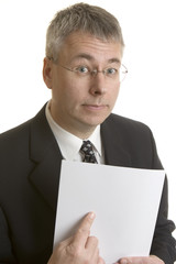 Businessman pointing at blank document