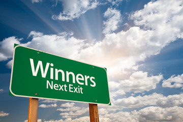 Winners Green Road Sign and Clouds