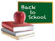 Classroom Back to School Chalkboard Books and Apple