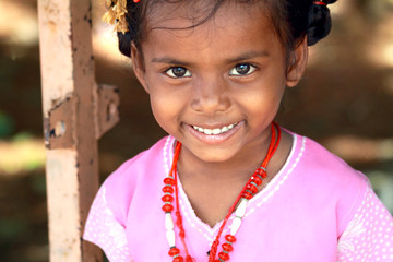 Smiling Indian Village Little Girl