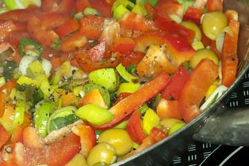 Gemüse in der Eisenpfanne