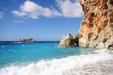 Lefkas Island, beautiful coast with boat, Greece