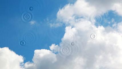 Rain drops on blue sky