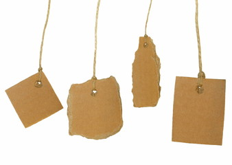 Set cardboard blank tag tied isolated on white background