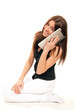 Woman talking as cellular mobile phonetouch pad
