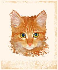 vintage portrait of ginger cat