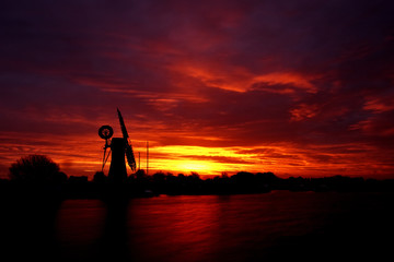 Windmill Silhouette at sunrise