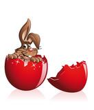 easter bunny inside an egg