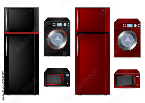 Refrigerator, Washing Machine and Microwave - Vector