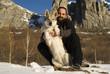 Man and his Czechoslovakian wolf dog
