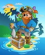 Pirate standing on chest on island