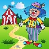 Clown in big pants with circus tent poster