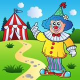 Funny clown with circus tent poster