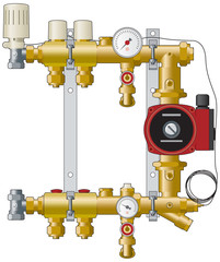 Heating manifold, pump and valves