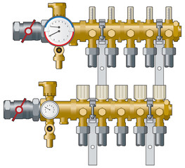Heating manifold and gauges