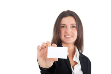 Businesswoman showing a business card