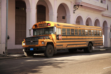 Old yellow school bus Havana
