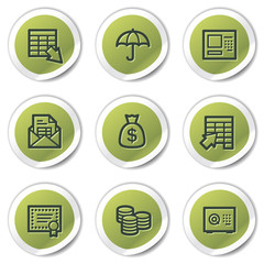 Banking web icons, green circle stickers