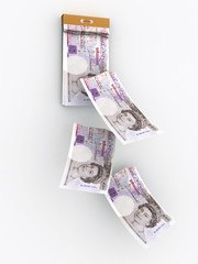 tear-off calendar consisting of GBP banknotes