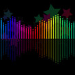 Many colored modern equalizer on black background