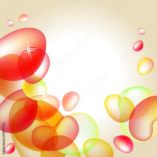 Abstract bright orange background with glossy bubles
