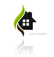 Logo arcs vert marron carrés gris