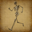 Skeleton running medical health care grunge old