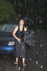 Woman caught in a downpour