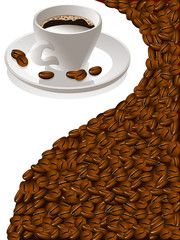 Kaffetasse mit Kaffeebohnen