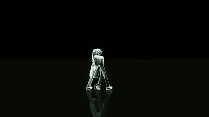 Tanzende Figur vor schwarzem Hintergrund