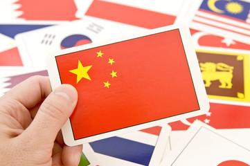 アジアの国々の国旗カード