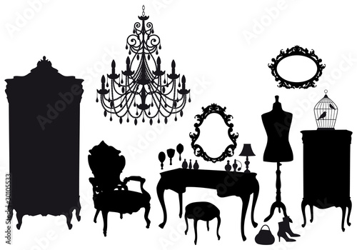 dressing room with antique furniture, vector