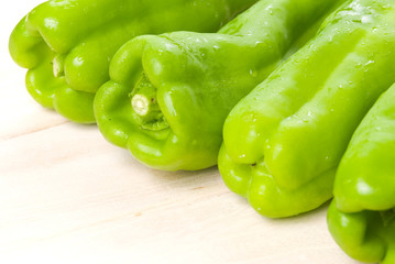 group of green bell peppers