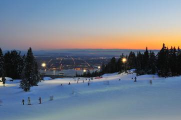 Grouse Mountain Night Ski Runs overlooking Vancouver
