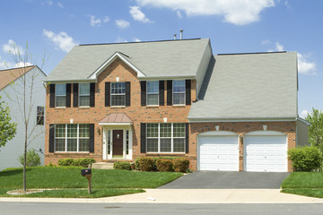 Single Family Home Front View Brick Suburban MD