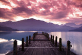 Fototapety Beautiful morning at spring  before sunrise and pier view