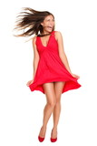 Beautiful woman happy screaming in red dress - 30108114