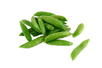 A Pile Of Green Sugar Snap Peas Isolated On White