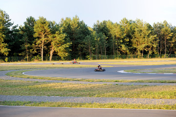 View of coutry autodrom in summer evening