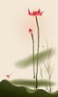 Oriental style painting, tall Lotus