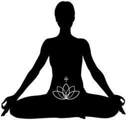 Padmasana. Yoga posizione del loto.