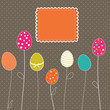 Easter eggs card with frame and polka dot background