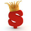 crown on red dollar sign