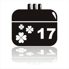 black st. patrick's day calendar icon