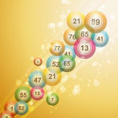 Shooting bingo balls on a gold background