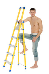 Young man with a stand ladder.