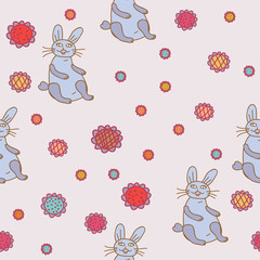 Seamless pattern with funny hare and flowers