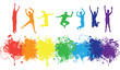 jumping rainbow people